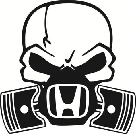 skull piston gas mask decal sticker car honda civic jdm