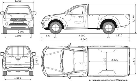 mitsubishi mini truck bed size car blueprints mitsubishi l200 single cab blueprints