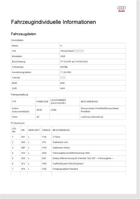 Audi Aufkleber Serviceheft by Fahrzeugdatentr 228 Ger Ausstattungscodes Tt Lounge