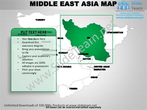 middle east map editable middle east asia powerpoint editable continent map with
