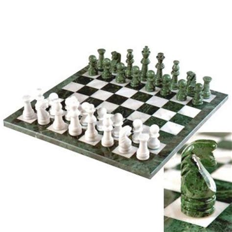 white chess set european green white marble chess set