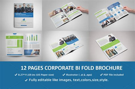 12 Pages Corporate Brochure Template Brochure Templates On Creative Market Pages Flyer Templates