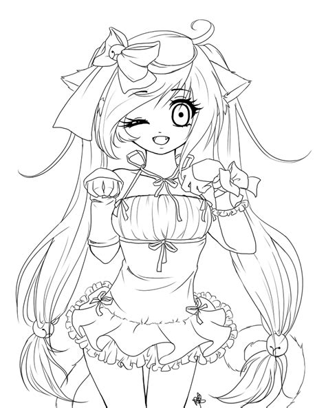 manga girl coloring page anime cat girl coloring pages coloring home
