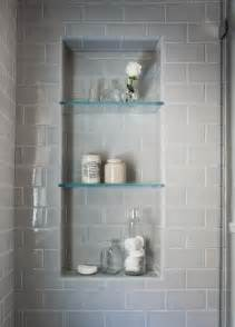 beautiful serene bathroom are the glass shelves in the