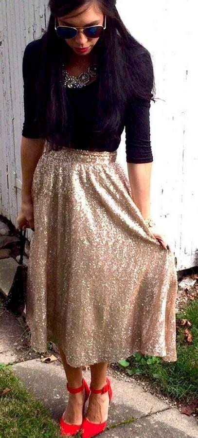 Rok Midi Skirt Flare A Line Bawahan Celana Kulot Jogger metallic gold sequin sparkle glitter flare a line midi skirt glam pretty nwt ebay