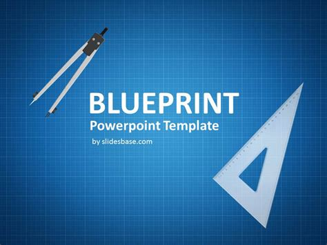 Blueprint Sketch Drawing Powerpoint Template Slidesbase Engineering Drawing Ppt