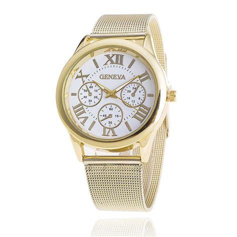 new fashion gold watches mesh belt geneva quartz