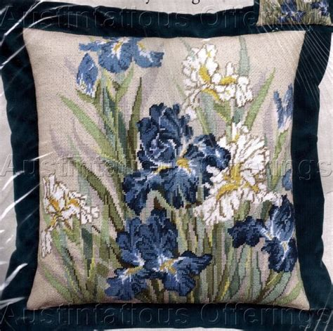 to find wang blue white iris needlepoint pillow kit