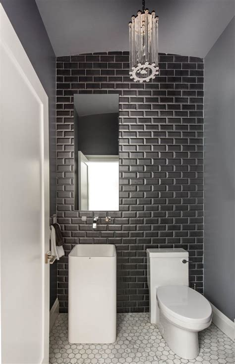beautiful subway tile small bathroom  decor wainscoting