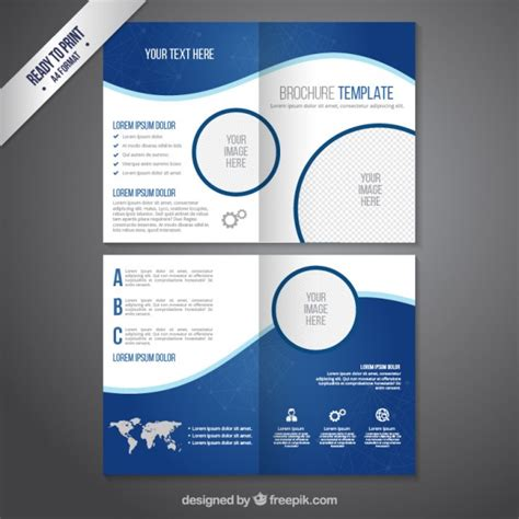 1 2 page flyer template brochure template in blue tones vector free