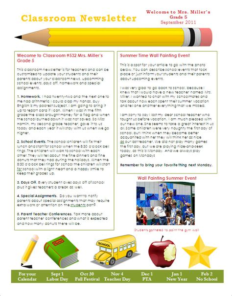 newsletter templates for teachers free 22 microsoft newsletter templates free word publisher