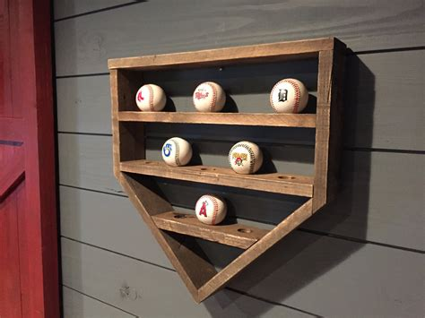 baseball shelf wooden home plate baseball organizer