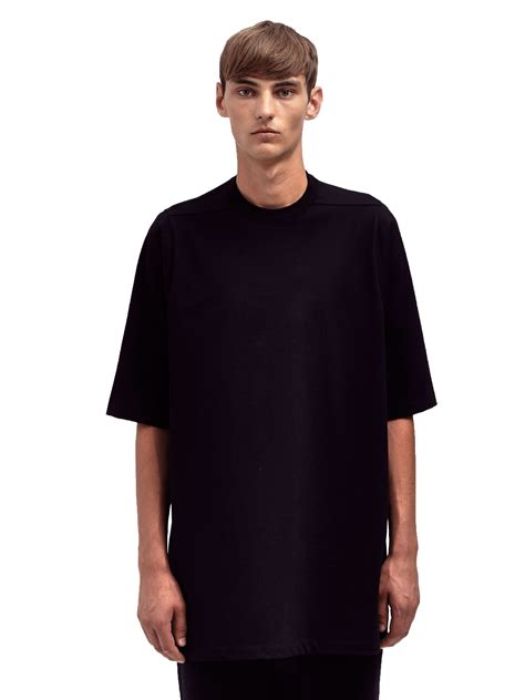 rick owens mens oversized crew neck t shirt in black for
