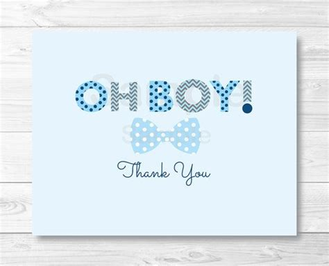 Boy Thank You Card Template by Oh Boy Bow Tie Folded Thank You Card Template