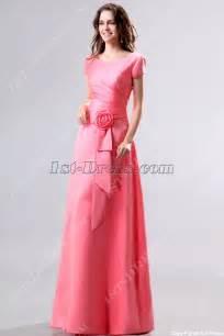 modest coral v neckline short sleeves bridesmaid dress 1st