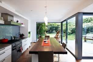 Kitchen Glass Wall house with floor to ceiling glass and beautiful nature views