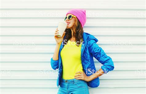 colorful clothes fashion pretty with coffee cup in colorful clothes