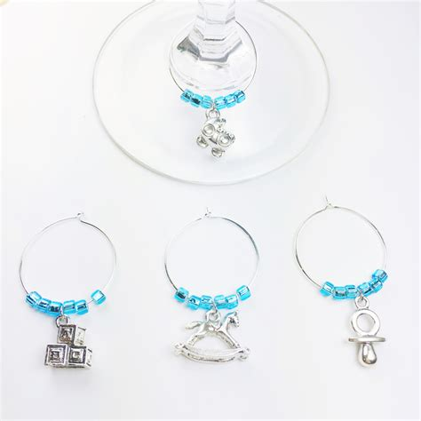 Baby Shower Wine Charms baby boy wine charms therapy wine