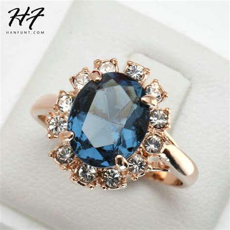 aliexpress rings top quality rose gold color blue cz cubic zirconia ring