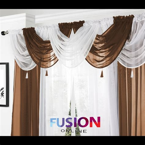 Brown Swag Valance Net Curtain Swag Swags Tassle Voile Decorative Drapes
