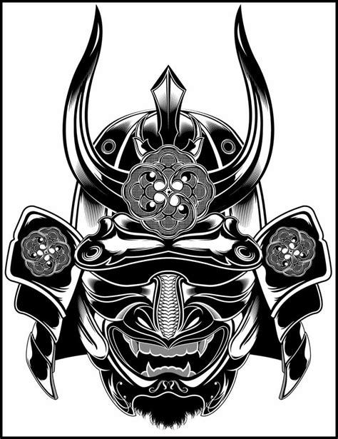 samurai mask tattoo black white drawings search sleeve