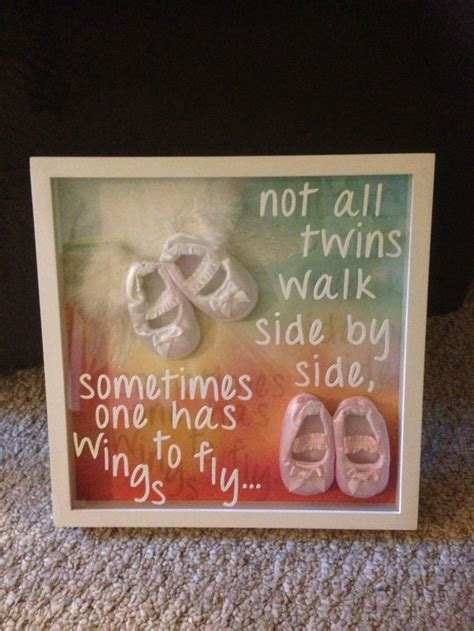 In memory wall art for cousin's twins, one was miscarried