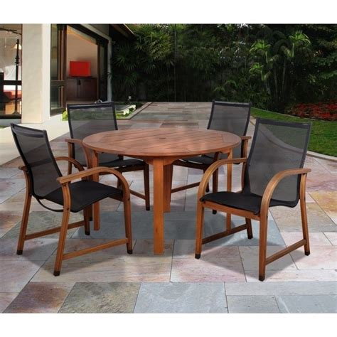 furniture piece eucalyptus wood patio set outdoor artika folding wooden patio table and chairs international home bahamas 5 piece wood patio dining set