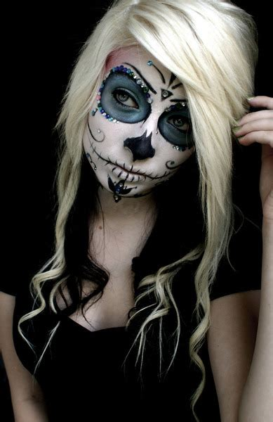halloween hairstyles day of the dead sugar skull with dyed hair black and blonde image