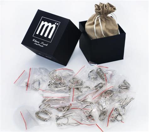 metal wooden puzzles brain teasers games for kids 28pcs set iq metal puzzle mind brain teaser magic wire