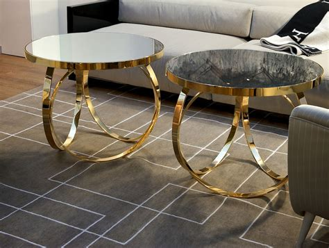 Gold Metal Coffee Table by Nella Vetrina Ottoline Italian Gold Metal