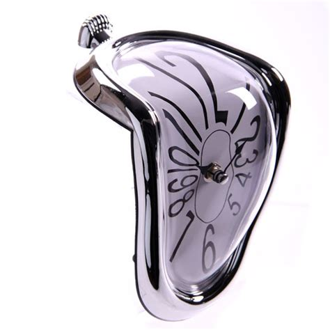 Melting Shelf Clock by Melting Shelf Clock With Silver Frame Product Code Pclck14