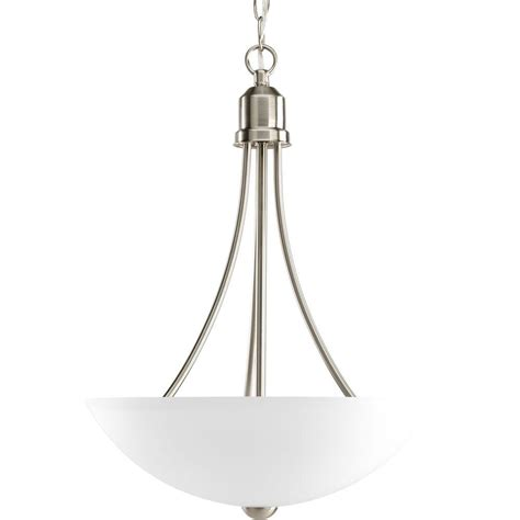 Brushed Nickel Pendant Light Progress Lighting Gather Collection 2 Light Brushed Nickel Foyer Pendant With Etched Glass P3914