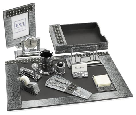 premier desk set collection metallic crocodile silver