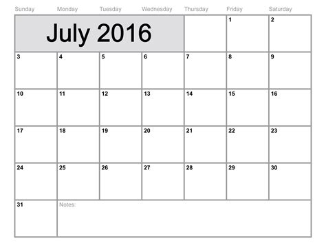 2016 monthly calendar template july 2016 calendar printable template 8 templates