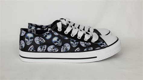 skull shoes skull shoes skull converse style pumps custom shoes