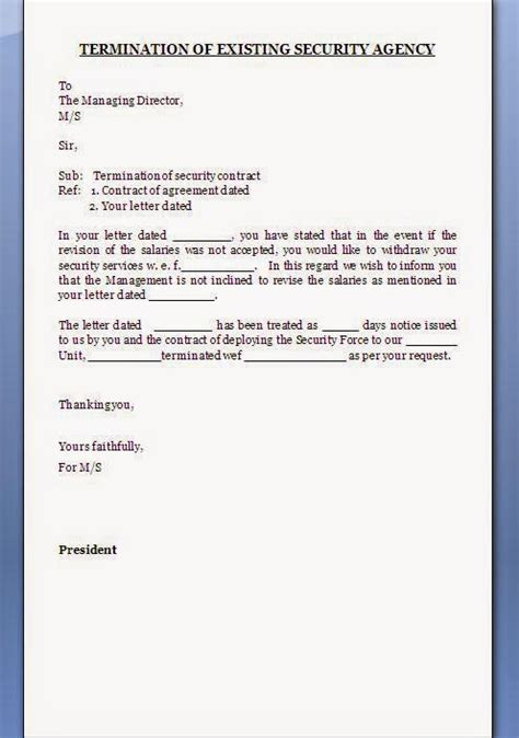 termination letter format for security services security agency contract termination letter format