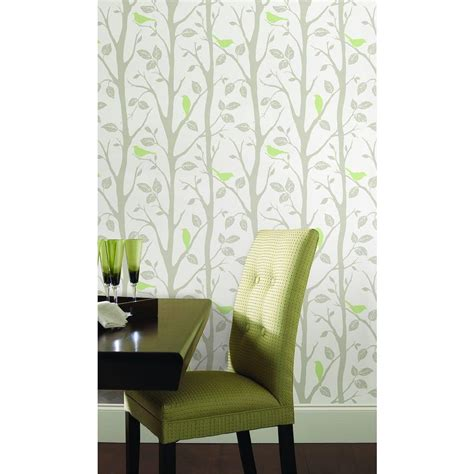 green peel and stick wallpaper nuwallpaper grey and green sitting in a tree peel and