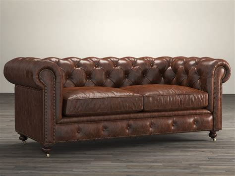 restoration hardware leather sofas 72 quot the petite kensington leather sofa 3d model
