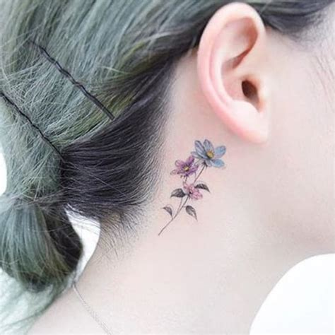 flower tattoo behind ear lovely ink for lovely people floral behind the ear