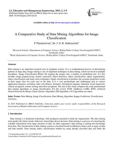 (PDF) A Comparative Study of Data Mining Algorithms for
