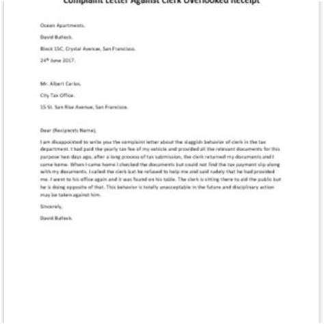 Complaint Letter Against Service Provider Formal Official And Professional Letter Templates
