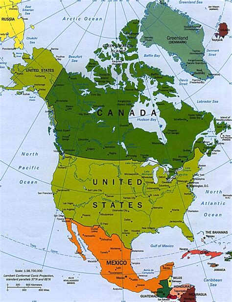 america map countries map of america