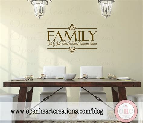 family wall sticker family vinyl wall decal side by side by openheartcreations
