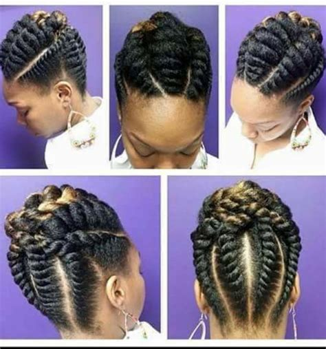 large flat braid updo twists braids natural hair pinterest twisted braid