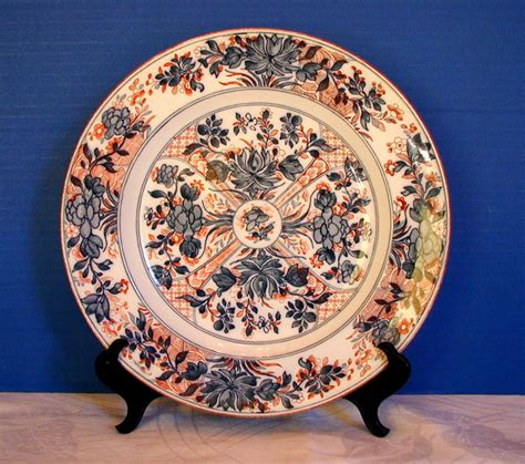 plate patterns wedgwood imari plate ningpo pattern blue red antique