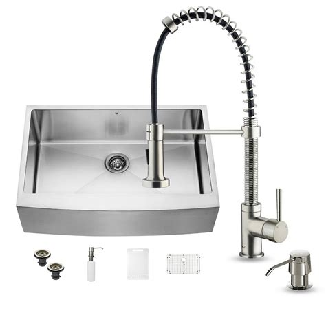 farmhouse kitchen faucet vigo all in one farmhouse apron front stainless steel 33