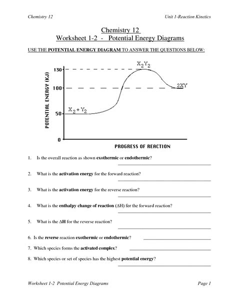 potential energy diagram worksheet 28 energy worksheet answers energy transformation worksheet davezan 10 best images of