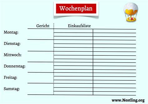 Wochenplan Haushalt Familie 4630 by Wochenplan F 252 R Familiengerichte Nestling