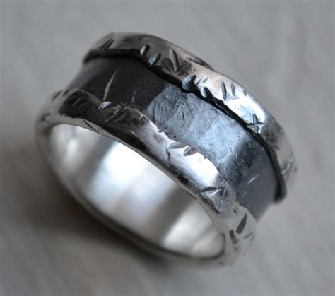 Handcrafted Mens Wedding Bands - mens wedding band silver and sterling silver ring