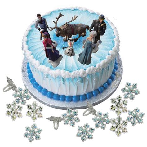 disney frozen figure cake decoration set snowflake rings